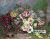 Flowers in a Basket - Art Print