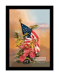 America's Flag & Flowers - Framed Art Print
