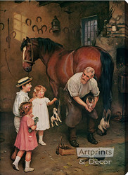 Won't You Fix My Horse Too by Arthur J. Elsley - Stretched Canvas Art Print