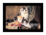Cat and Her Three Kittens - Framed Art Print