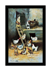 Chickens at Home - Framed Art Print
