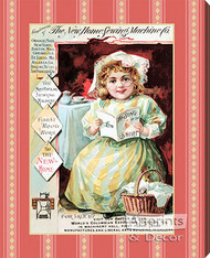 The New Home Sewing Machine Co. - Stretched Canvas Vintage Ad Art Print
