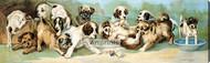 Yard of Puppies by C.L. Van Vredenburgh - Stretched Canvas Art Print