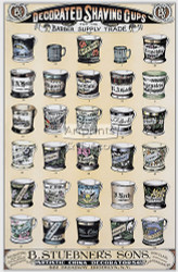 Decorated Shaving Cups for the Barber Supply Trade by B. Stuebner's Sons - Vintage Advertisement Art Print