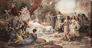 Forest Nymphs by Emanuel Oberhauser - Stretched Canvas Art Print