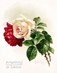 White and Crimson Roses by Paul de Longpre - Art Print