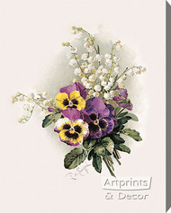 Pansies & Lillies of the Valley by Paul de Longpre - Stretched Canvas Art Print