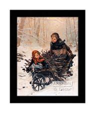 Bringing Home the Christmas Firewood - Framed Art Print