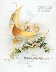 Sail Boat Marriage Certificate - Art Print