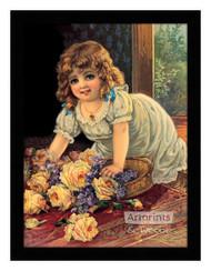 Girl With Yellow Roses - Framed Art Print