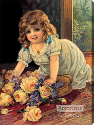 Girl With Yellow Roses - Stretched Canvas Art Print