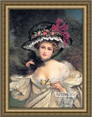Portrait of a Lady Wearing a Hat  - Framed Art Print