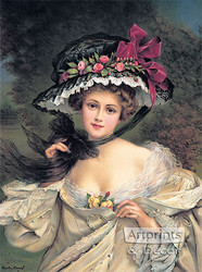 Portrait of a Lady Wearing a Hat by Francois Martin-Kavel - Art Print