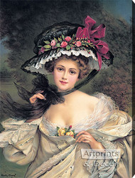 Portrait of a Lady Wearing a Hat by Francois Martin-Kavel - Stretched Canvas Art Print