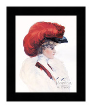 Lady with Red Plumed Hat - Framed Art Print