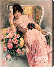 Pink Roses with a Letter by Frank H. Desch - Stretched Canvas Art Print