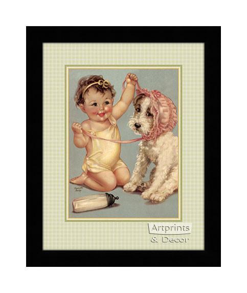 The Pink Bonnet by Charlotte Becker Art Print of Vintage Art