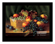 Grapes and Apples In A Basket - Framed Art Print