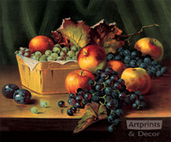 Grapes and Apples In A Basket - Art Print