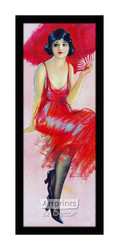 Red Feathered Fan - Framed Art Print