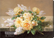 Yellow Roses with Lilacs - Stretched Canvas Print
