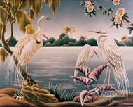 Four White Herons - Art Print