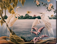 Four White Herons - Stretched Canvas Print