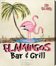 Flamingos Bar & Grill -  Stretched Canvas Art Print