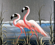 Retro Flamingos - Stretched Canvas Art Print