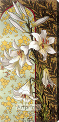 Stylized White Lillies - Stretched Canvas Print