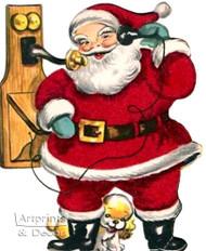 Santa on the Telephone - Art Print