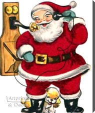 Santa on the Telephone - Stretched Canvas Art Print