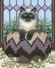 Cat in a Basket by Wall - Art Print