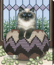 Cat in a Basket by Wall - Stretched Canvas Art Print
