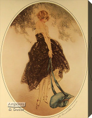 Le Bonnet Blue by Louis Icart - Stretched Canvas Art Print