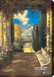 The Rose Bower by R. Atkinson Fox - Stretched Canvas Art Print