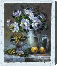 Lavender & Yellow Still Life - Stretched Canvas Art Print