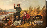 Wild Duck Shooting A Good Day's Sport by Currier & Ives - Stretched Canvas Art Print