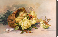 Basket of Yellow Roses by Catherine Klein - Stretched Canvas Art Print
