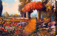 Garden Path Through Columns by R. Atkinson Fox - Stretched Canvas Art Print