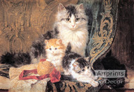 Cat and Her Three Kittens by Henriette Ronner-Knip - Art Print