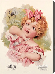 Little Miss Muffet by Maud Humphrey - Stretched Canvas Art Print
