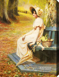 Gathering Primroses by Annie Henniker - Stretched Canvas Art Print
