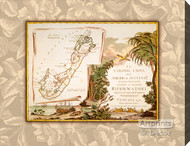 Bermuda Map - Stretched Canvas Art Print