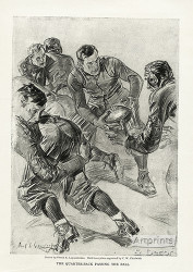 The quarterback passing the ball by Frank Leyendecker  - Art Print