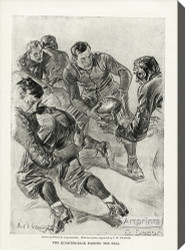 The quarterback passing the ball by Frank Leyendecker  - Stretched Canvas Art Print
