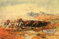 The Buffalo Hunt by Charles Marion Russell - Art Print