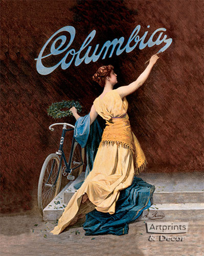 Columbia Bicycles Girl by A Rome's - Art Print