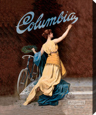 Columbia Bicycles Girl by A Rome's - Stretched Canvas Art Print