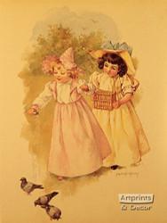 Feeding Pigeons - Art Print